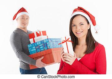 地位, クリスマス, santa, 贈り物, 恋人, 隔離された, 若い, 朗らかである, 間, 箱, 保有物, gifts., 微笑, 帽子, 白