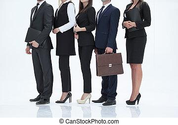 地位, クローズアップ, グループ, ビジネス 人々, .isolated, 白, 横列