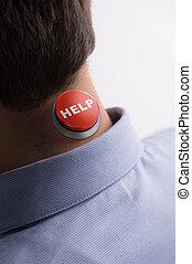 地位, クローズアップ, 彼の, 助け, help!, ボタン, 男性, 隔離された, 白, 光景, 後部, 首