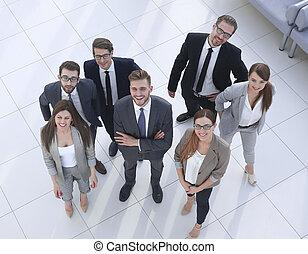 地位, グループ, オフィス, ビジネス 人々, 上, 新しい, view.a