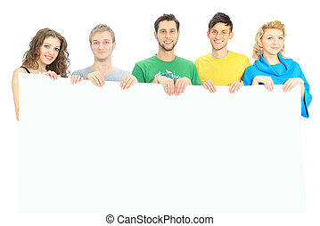 地位, グループ, 保有物, 人々, 若い, 一緒に, 隔離された, テキスト, 背景, ブランク, 白, 印, あなたの, 幸せ