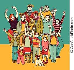 地位, グループ, 家族, 大きい, color., 幸せに微笑する