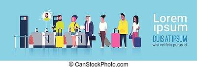 地位, グループ, 走査器, 人々, 点検, 待つこと, 混合, 空港, レース, によって, 登録, 渡ること, セキュリティー, 線