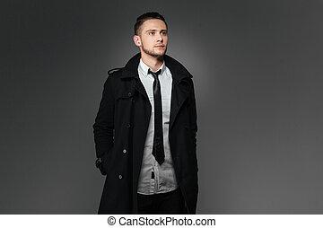 地位, コート, 黒, ポケット, 手, ビジネスマン