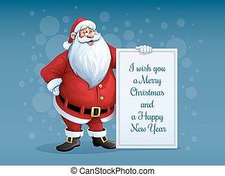 地位, サンタクロース, クリスマス, 挨拶, 陽気, 旗, 腕