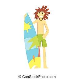 地位, サーフィンをしなさい, レクリエーション, セット, 練習する, ティーネージャー, サーファー, 部分, 特徴, 板, スポーツ, 漫画, 極点