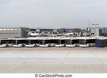 地位, シャトル, 空港, airfield., バス