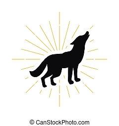 地位, シルエット, わめく, 狼, レトロ, ロゴ
