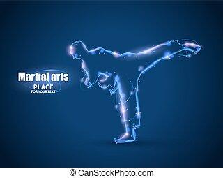 地位, シルエット, kick., ライト, 隔離された, イラスト, 動き, バックグラウンド。, karateka,...