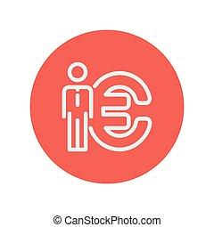 地位, シンボル, ∥横に∥, 薄くなりなさい, ユーロ, 線, アイコン, 人