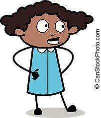 地位, スタイル, オフィス, -, イラスト, 話し, ベクトル, 黒, レトロ, 女の子, 漫画