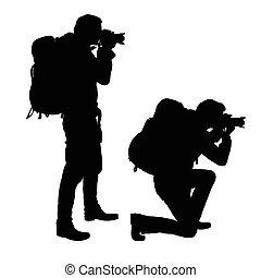 地位, セット, カメラマン, 隔離された, 現実的, シルエット, ベクトル, 望遠レンズ, バックパック, ひざまずく