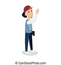 地位, タブレット, 帽子, 特徴, 若い, イラスト, ベクトル, 漫画, 人