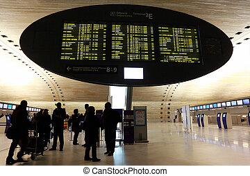 地位, チャールズ, 人々, de, 空港, 板, gaulle, インターナショナル, ディスプレイ