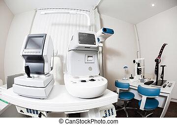 地位, テスト, 目, ophthalmologist's, オフィス, 現代, equipment., の上, lab., tonometer, 終わり, 装置, 専門家