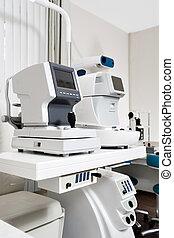 地位, テスト, 目, ophthalmologist's, オフィス, 現代, lab., tonometer, 装置