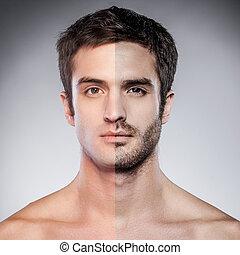地位, ハンサム, shaved., 灰色, に対して, 若い見ること, そられた, 間, カメラ, 背景, 半分の表面, 人