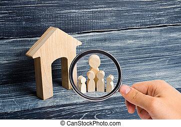 地位, バイヤー, 概念, 家族, ガラス, 木製である, 愛, 恋人, house., 売り手, 見る, 人, 数字, 立ちなさい, cohabitants, 大きい, 拡大する, 親