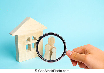 地位, バイヤー, 概念, 家族, ガラス, 木製である, 愛, 恋人, house., 売り手, 見る, 人, 数字, 立ちなさい, cohabitants, 親, 拡大する