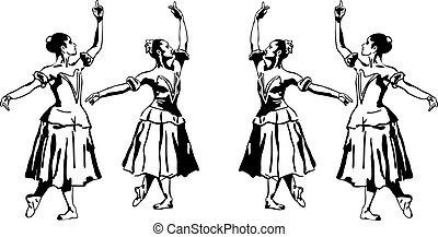 地位, バレリーナ, 女の子, 21, スケッチ, pose(1).jpg