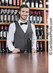 地位, バーテンダー, カウンター, 確信した, びん, ワイン