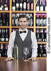 地位, バーテンダー, カウンター, 確信した, 白ワイン