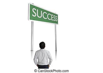 地位, ビジネスマン, 成功, 印