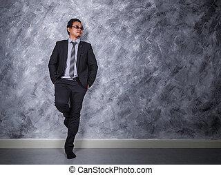 地位, ビジネスマン, 若い, ポケット, 手