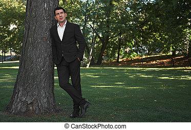 地位, ビジネスマン, 長さ, フルである, 公園