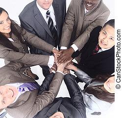 地位, ビジネス チーム, 一緒に, 手が握り締められる
