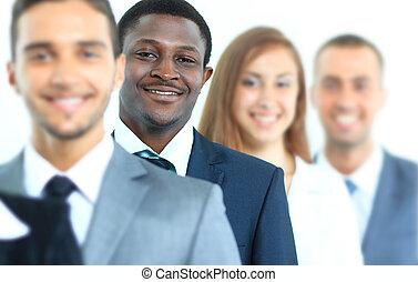 地位, ビジネス, チーム, 微笑, 横列, 幸せ
