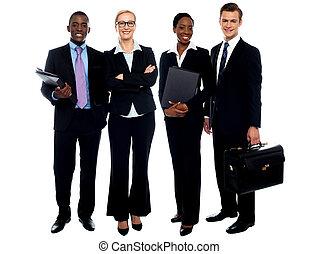 地位, ビジネス チーム, 微笑, 横列, 幸せ