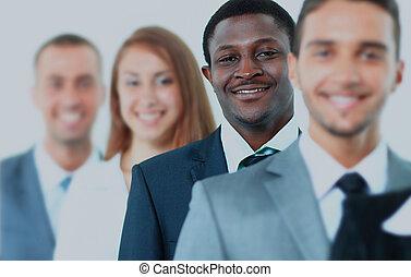 地位, ビジネス チーム, 微笑, row., 幸せ