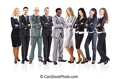 地位, ビジネス, 上に, 形作られる, 若い, ビジネスマン, 背景, チーム, 白