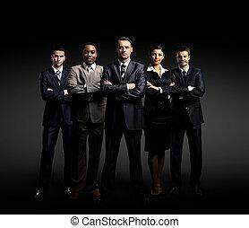地位, ビジネス, 上に, 暗い背景, チーム