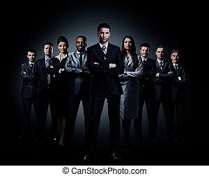地位, ビジネス, 上に, 暗い, バックグラウンド。, チーム