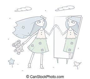 地位, ファッション, 鏡。, illustration., 特徴, 若い, ベクトル, 前部, 女の子, 漫画, 幸せ
