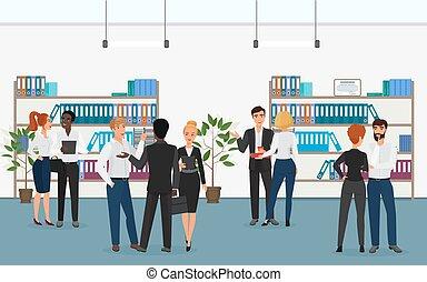 地位, フォルダー, multiethnic, オフィス, 棚, 女性実業家, 話し, 間, ベクトル, ビジネスマン, お互い, illustration.
