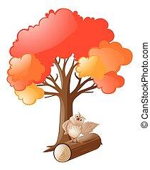 地位, フクロウ, 木, 丸太, 下に