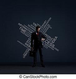 地位, ブリーフケース, 成功, 壁, text., 上に, 改善, ビジネス, ビジネスマン, concept.