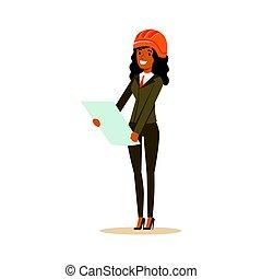 地位, ヘルメット, 女, カラフルである, 特徴, イラスト, ベクトル, 建築家, 再検討, 微笑, 文書