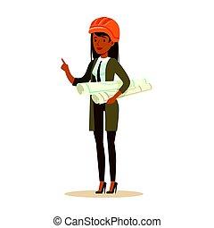 地位, ヘルメット, 青写真, 女, カラフルである, 特徴, 回転する, イラスト, プロジェクト, ベクトル, 安全, 保有物, オレンジ, 建築家