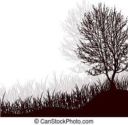 地位, ベクトル, 木, 草, イラスト