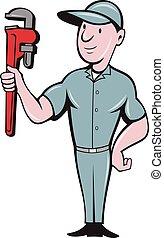 地位, レンチ, handyman, 漫画, サル