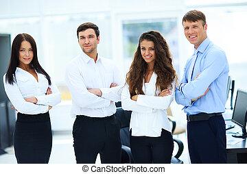 地位, 一緒に, グループ, businesspeople, オフィス
