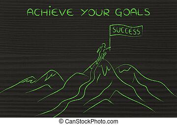 地位, 上, 人, 目的を達しなさい, あなたの, 山, ゴール