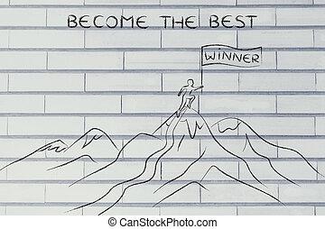 地位, 上, 勝者, 最も良く, なる, 山
