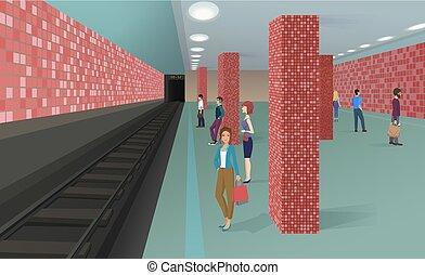地位, 人々, train., イラスト, 待つこと, ベクトル, 地下鉄, 横