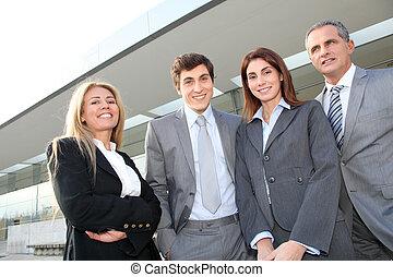 地位, 会議, グループ, 建物, ビジネス 人々, 外