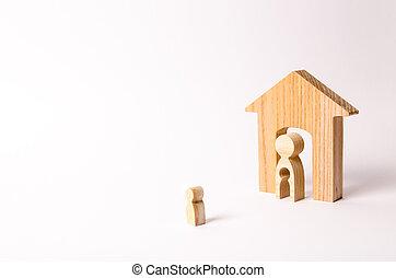 地位, 体, 彼の, ドア, 形態, 家, 離れて, 母, house., 動くこと, 養子, 顔つき, 子供, children., home., 空間, leaving., 前に